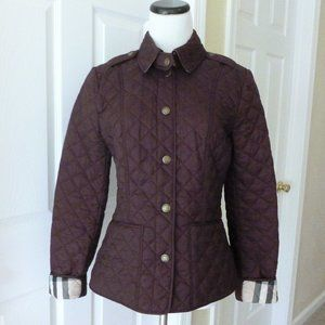 Burberry Kencott Plaid Lined Plum Quilted Jacket